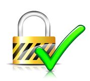 Padlock with check mark. Illustration of padlock with check mark design Stock Photography