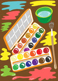 Illustration of paint brush tools for the artist Royalty Free Stock Image