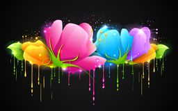 Colorful Flower. Illustration of paint dripping from colorful flower Stock Photography