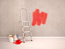 Illustration of paint the walls in red color. 3d illustration of paint the walls in red color Stock Image