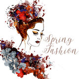 Illustration with painted female portrait. Spring trendy backgr Stock Photos