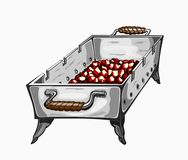 Illustration of painted grill with charcoal Stock Photos