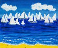 White regatta 3, painting Stock Photos