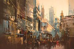 Illustration painting of city street Stock Photography