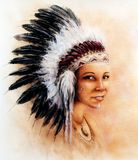 Illustration painting young indian woman wearing a feathers Stock Photos