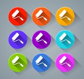 Paintroller icons with various colors Royalty Free Stock Images