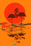 Illustration with pair of flamingos in love. At sunset or sunrise Stock Image