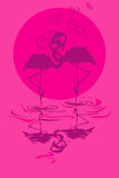 Illustration with pair of flamingos in love. At sunset or sunrise Royalty Free Stock Photo