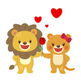 Illustration of a pair of lion Stock Photo