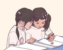 Illustration of pair of little girls coloring in kinder garden in color. Stylized illustration of young girls in team work activity Royalty Free Stock Photo