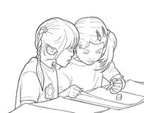 Illustration of pair of little girls coloring in kinder garden. Stylized illustration of young girls in team work activity Royalty Free Stock Photos