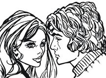Illustration of a pair of lovers Royalty Free Stock Photo