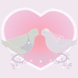 Illustration with a pair of pigeons and heart Royalty Free Stock Photography
