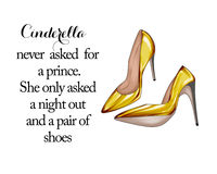 Illustration of a pair of Red stiletto shoes - Quote Royalty Free Stock Image