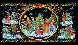 Illustration palekh Christmas holiday  people Royalty Free Stock Photo