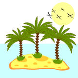 Illustration of palm tree in island on background Stock Photography