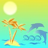 Illustration with palmtree and dolphins Royalty Free Stock Photos
