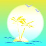 Illustration with palmtree and island Royalty Free Stock Image