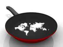 illustration of a pan with a world  map Royalty Free Stock Photo