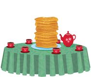 Illustration of pancakes in a dish on white background Stock Photo