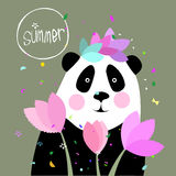 Illustration of a Panda and the flowers Royalty Free Stock Photos