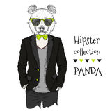 Illustration of panda hipster dressed up in jacket, pants and sweater. Vector illustration