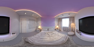 Illustration panorama of bedroom interior design. Royalty Free Stock Images