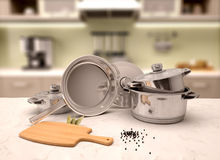 Illustration of  pans on the table with a blurred background. 3d illustration of  pans on the table with a blurred background Stock Image