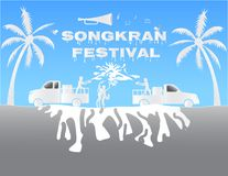 Illustration paper art concept Songkran festival annual traditio Royalty Free Stock Photography