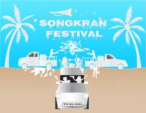 Illustration paper art concept Songkran festival annual tradition of thailand. Royalty Free Stock Photo