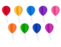 Illustration with paper colored balloons on white background. Vector illustration with paper colored balloons on white background Royalty Free Stock Image
