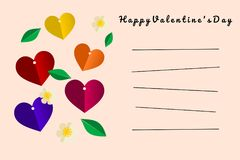 Illustration of paper cut style in concept : Happy Valentine`s Day card in light color. Colorful Hearts. Stock Photos