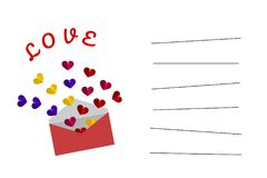 Illustration of paper cut style in concept : Happy Valentine`s Day card in white color. Colorful Hearts in the pink envelope vecto Royalty Free Stock Photo