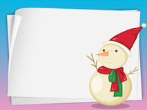 Paper sheets and snowman Stock Photos