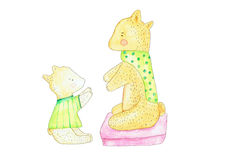Illustration of parent bear and child reaching to each other Stock Image
