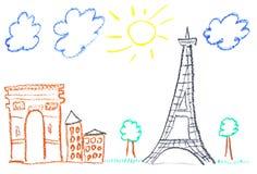 illustration paris royaltyfri illustrationer