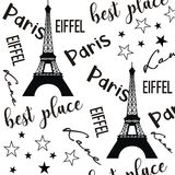 Illustration Paris Pattern Black And White Background Stock Image
