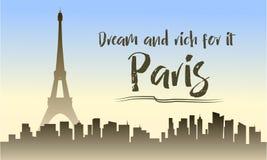 Illustration of paris silhouette Royalty Free Stock Photo
