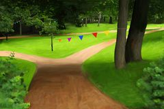 Park with birthday flags Stock Images