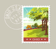 Illustration of park overlooking lake erie, Ohio Royalty Free Stock Image