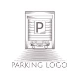 Illustration of parking garage icon with text Royalty Free Stock Images