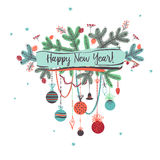 Illustration for party of happy new year 2017. Vector christmas. Decoration on a white background with branch of Christmas tree Stock Images