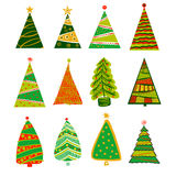 Illustration for party of happy new year 2017. Vector christmas. Decoration on a white background with set of color christmas xmas tree Royalty Free Stock Photo