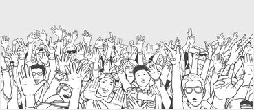 Illustration of partying crowd with raised hands Stock Photography