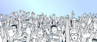Illustration of partying crowd with raised hands Stock Photo