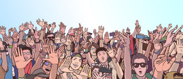 Illustration of partying crowd with raised hands Stock Photos
