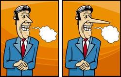 Illustration pas sincère de bande dessinée de politicien Images libres de droits
