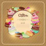 Illustration with pastries to the menu, bakeries. Patisserie background frame with the sketch of sweets, desserts royalty free illustration