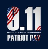 Illustration of Patriot Day Poster. September 11th. National Day of Service and Remembrance vector illustration