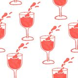 illustration of a pattern of a glass of red wine royalty free stock photos